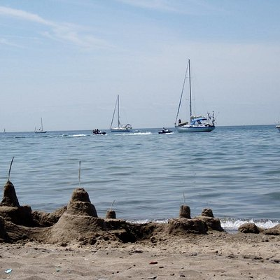 Sand castles and sailboats at Hanlan's Point