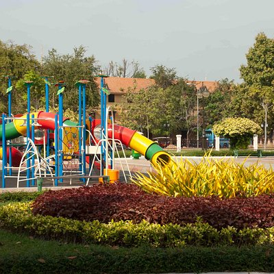 Colourful playground equipment