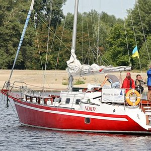 Sailing on the Dnipro river