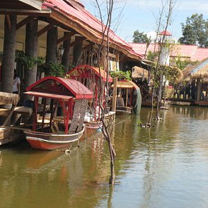 Some of the many 'boat' stalls, mainly selling food