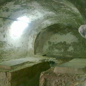 Interior: The bones of the boys are in the ossuary here