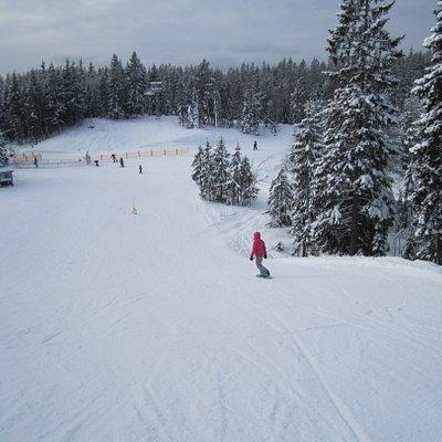 My daughter snowboarding