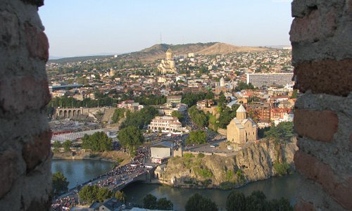 view from the 'window' - Metekhi Church and Holy Trinity Cathedral of Tbilisi