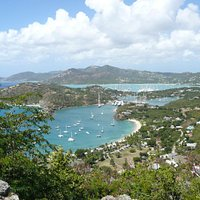 The view of Nelson's Dockyard in Antigua from Shirley Heights