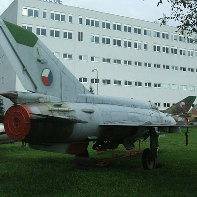 Preserved aircraft behind museum