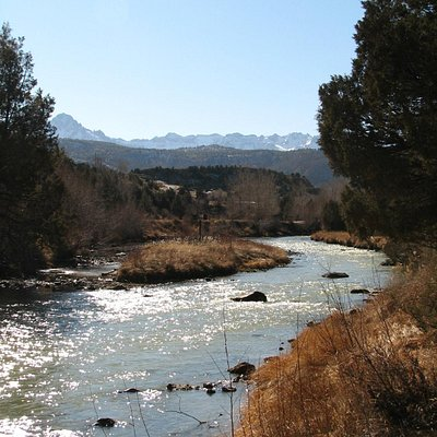 Picnic area by the Uncompahgre with mountain views
