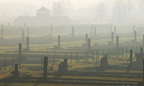 Former Auschwitz II-Birkenau camp. BII sector with the main camp gate.