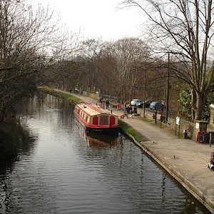 The canal near the mill and the railway station