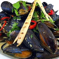 Freash River Teign Mussels with Thai Spices finished with Cream