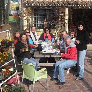 workshop group having lunch