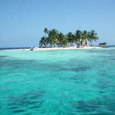 Silk Caye. Warm clear sea