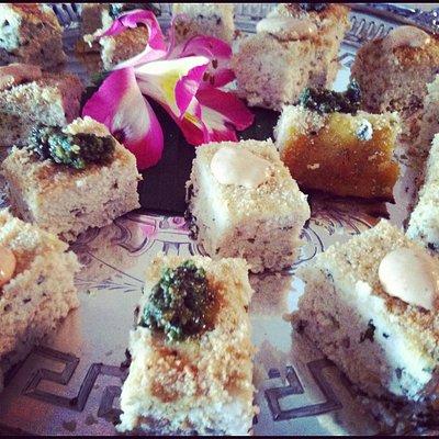 Chicken & Ricotta cheese cakes w/ pesto & aioli