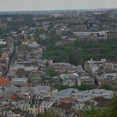 Old Lviv city from castle hill