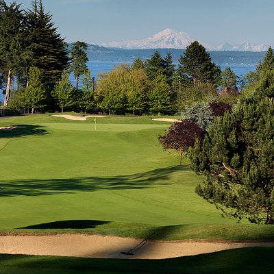 Mount Baker rises above the 5th hole