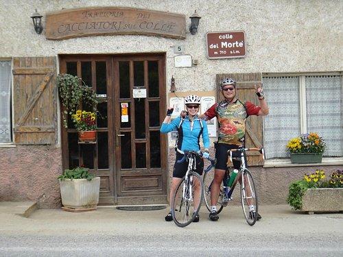 Longhorn pride at the top of Deadman's Hill on our last ride into Chiusa di Pesio
