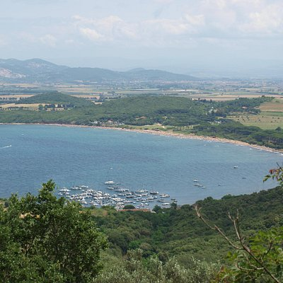 looking down onto Baratti bay and beaches