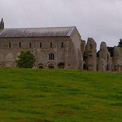 Binham Priory from the boundary road