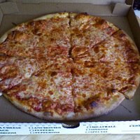 Large Cheese Pizza (still hot & fresh when I arrived home)