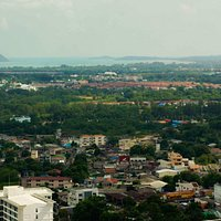 Khao Rang Hill View Point. View of the southern part of the island and Phuket Town.