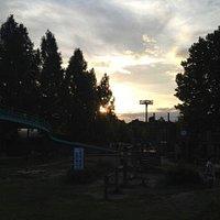 por do sol no parque...