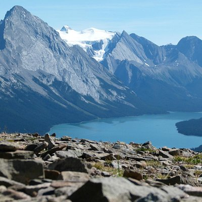 Maligne Lake in the distance