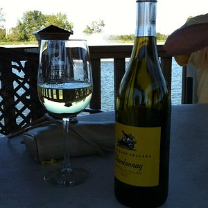 Nice Chardonnay - in the pergola perched on the Lake