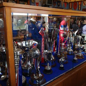 Some of the many trophies on display in the trophy room