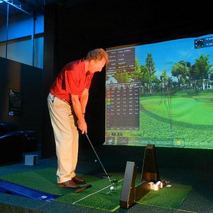 Practice at Scottsdale Golf Place. Note the floor has tilted to simulate an uneven lie!