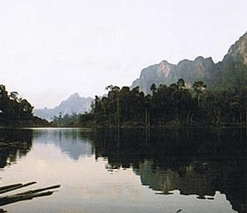 View from floating rafthouses, Chieow Laan Lake, Khao Sok, Thailand