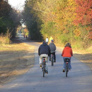 Bikers on the Falling Waters Trail in Fall