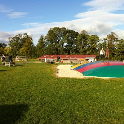Cafe, trampolines and playpark area