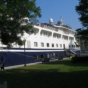 Cruise Ship Yorktown docked in front of the Wickes Park Gazebo