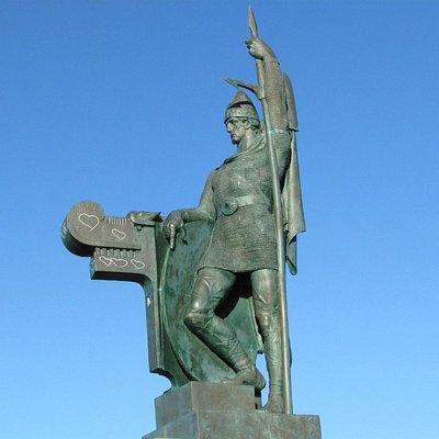 Statue of Viking Ingolfur Arnarson, whose family settled Iceland in 874