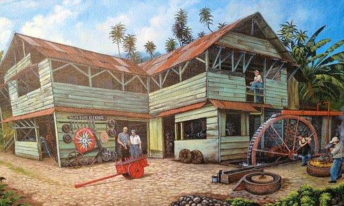 Pintura de la Fábrica de Carretas Eloy Alfaro hecha por Víctor Chavarría