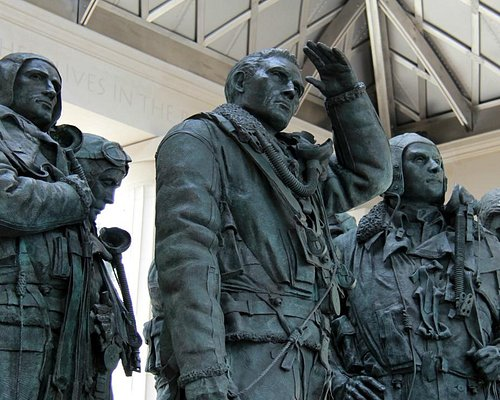 The statues of seven bomber crew are at the heart of the memorial