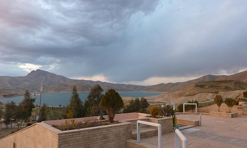 View across Dokan lake from Ashul Hotel. The hotel borders the unspoiled clear waters of the lak