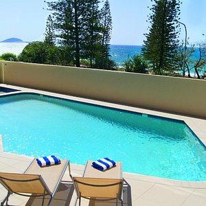 Pool over looking beach