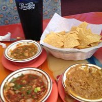 chips salsa bean dip served at every table