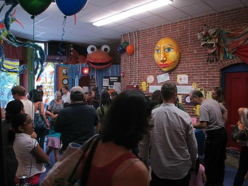 Lobby after a show at Puppet Showplace Theatre
