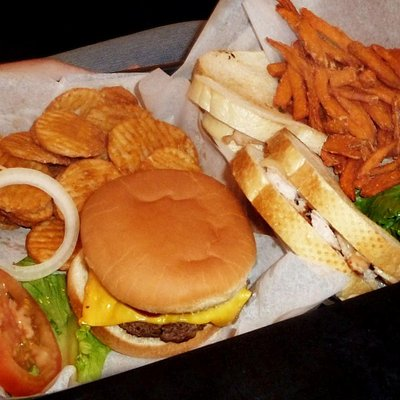 Burger and Turkey Sandwich with fries