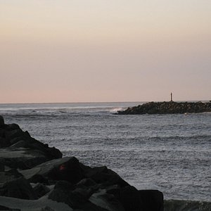 South Jetty Park, south and north jetties at ocean