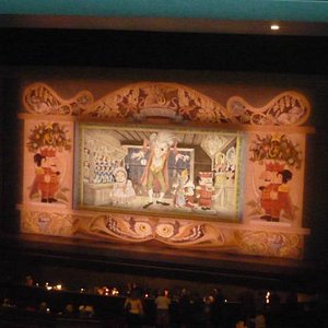 Stage curtain prior to performance