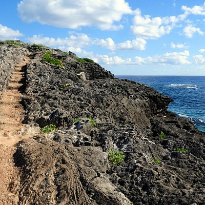 Amazing steps carved into the rocky cliff
