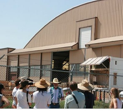 Roswell UFO Tour group at the infamous Hangar 84.