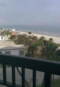 A view of New Smyrna Beach from a beachside balcony.