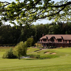 The clubhouse from the 9th