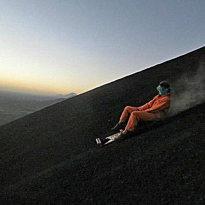 Boarding down Cerro Negro