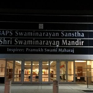Front of the BAPS Swaminarayan Hindu Mandir