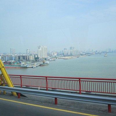 Queshi bridge-view of Shantou city from bridge