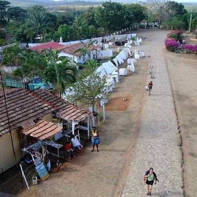 View from the tower of the tourist stalls